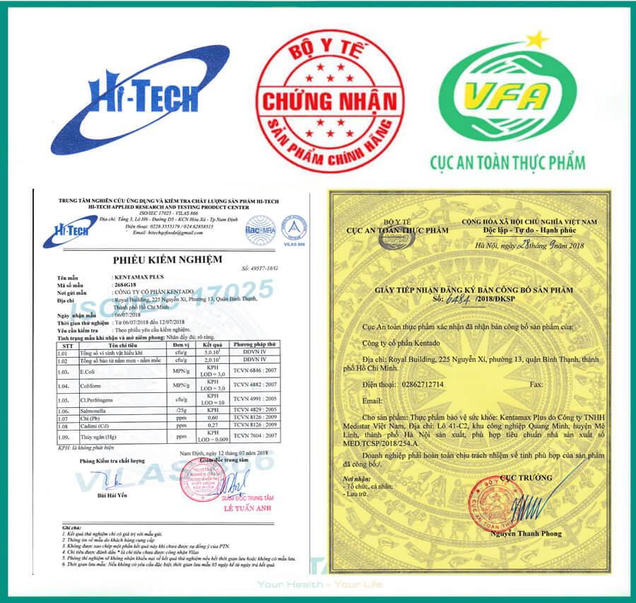 Sản phẩm đã được Bộ Y Tế (Cục An Toàn Thực Phẩm) cấp giấy xác nhận lưu hành trên toàn quốc.